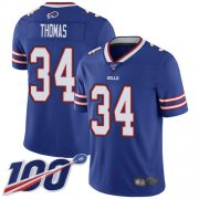 Wholesale Cheap Nike Bills #34 Thurman Thomas Royal Blue Team Color Men's Stitched NFL 100th Season Vapor Limited Jersey