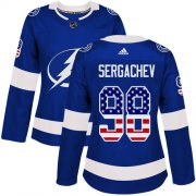 Wholesale Cheap Adidas Lightning #98 Mikhail Sergachev Blue Home Authentic USA Flag Women's Stitched NHL Jersey