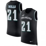 Wholesale Cheap Nike Eagles #21 Jalen Mills Black Alternate Men's Stitched NFL Limited Rush Tank Top Jersey