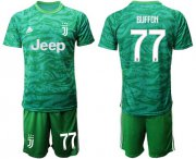 Wholesale Cheap Juventus #77 Buffon Green Goalkeeper Soccer Club Jersey