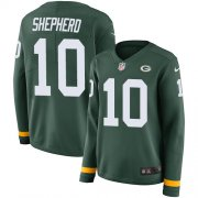 Wholesale Cheap Nike Packers #10 Darrius Shepherd Green Team Color Women's Stitched NFL Limited Therma Long Sleeve Jersey