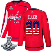Wholesale Cheap Adidas Capitals #20 Lars Eller Red Home Authentic USA Flag Stanley Cup Final Champions Stitched NHL Jersey