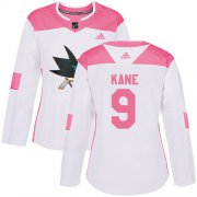 Wholesale Cheap Adidas Sharks #9 Evander Kane White/Pink Authentic Fashion Women's Stitched NHL Jersey