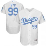 Wholesale Cheap Dodgers #99 Hyun-Jin Ryu White Flexbase Authentic Collection Father's Day Stitched MLB Jersey
