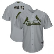 Wholesale Cheap Cardinals #4 Yadier Molina Grey New Cool Base 2018 Memorial Day Stitched MLB Jersey