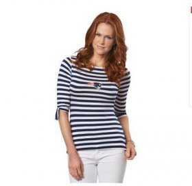 Wholesale Cheap New England Patriots Lady Striped Boatneck Three-Quarter Sleeve T-Shirt