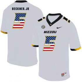 Wholesale Cheap Missouri Tigers 5 Terry Beckner Jr. White USA Flag Nike College Football Jersey