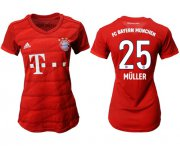 Wholesale Cheap Women's Bayern Munchen #25 Muller Home Soccer Club Jersey