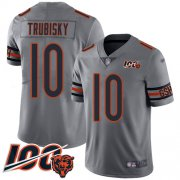 Wholesale Cheap Nike Bears #10 Mitchell Trubisky Silver Men's Stitched NFL Limited Inverted Legend 100th Season Jersey