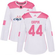 Wholesale Cheap Adidas Capitals #44 Brooks Orpik White/Pink Authentic Fashion Women's Stitched NHL Jersey