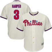 Wholesale Cheap Phillies #3 Bryce Harper Cream Cool Base Stitched Youth MLB Jersey