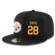 Wholesale Cheap Pittsburgh Steelers #28 Sean Davis Snapback Cap NFL Player Black with Gold Number Stitched Hat