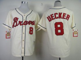 Wholesale Cheap Mitchell and Ness Braves #8 Bob Uecker Stitched Cream Throwback MLB Jersey
