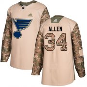 Wholesale Cheap Adidas Blues #34 Jake Allen Camo Authentic 2017 Veterans Day Stitched Youth NHL Jersey