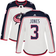 Wholesale Cheap Adidas Blue Jackets #3 Seth Jones White Road Authentic Women's Stitched NHL Jersey
