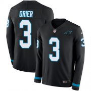 Wholesale Cheap Nike Panthers #3 Will Grier Black Team Color Men's Stitched NFL Limited Therma Long Sleeve Jersey