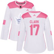 Wholesale Cheap Adidas Maple Leafs #17 Wendel Clark White/Pink Authentic Fashion Women's Stitched NHL Jersey