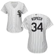 Wholesale Cheap White Sox #34 Michael Kopech White(Black Strip) Home Women's Flexbase Authentic Collection Stitched MLB Jersey
