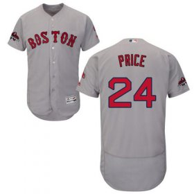 Wholesale Cheap Red Sox #24 David Price Grey Flexbase Authentic Collection 2018 World Series Champions Stitched MLB Jersey
