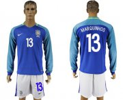 Wholesale Cheap Brazil #13 Marquinhos Away Long Sleeves Soccer Country Jersey