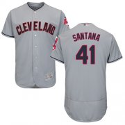 Wholesale Cheap Indians #41 Carlos Santana Grey Flexbase Authentic Collection Stitched MLB Jersey