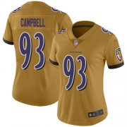 Wholesale Cheap Nike Ravens #93 Calais Campbell Gold Women's Stitched NFL Limited Inverted Legend Jersey