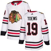 Wholesale Cheap Adidas Blackhawks #19 Jonathan Toews White Road Authentic Stitched Youth NHL Jersey