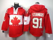 Wholesale Cheap Olympic CA. #91 Steven Stamkos Red Sawyer Hooded Sweatshirt Stitched NHL Jersey