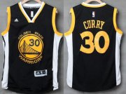 Wholesale Cheap Men's Golden State Warriors #30 Stephen Curry Black With White Edge Stitched NBA Adidas Revolution 30 Swingman Jersey