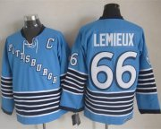 Wholesale Cheap Penguins #66 Mario Lemieux Light Blue CCM Throwback Stitched NHL Jersey
