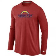 Wholesale Cheap Nike Los Angeles Chargers Authentic Logo Long Sleeve T-Shirt Red