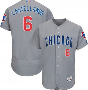 Wholesale Cheap Cubs #6 Nicholas Castellanos Grey Flexbase Authentic Collection Road Stitched MLB Jersey