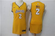 Wholesale Cheap Nike Los Angeles Lakers #2 Lonzo Ball Yellow Women Swingman Jersey