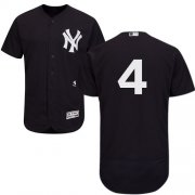 Wholesale Cheap Yankees #4 Lou Gehrig Navy Blue Flexbase Authentic Collection Stitched MLB Jersey