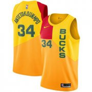 Wholesale Cheap Men's Nike Milwaukee Bucks #34 Giannis Antetokounmpo 2018-19 City Edition Swingman Yellow Jersey