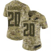 Wholesale Cheap Nike Lions #20 Barry Sanders Camo Women's Stitched NFL Limited 2018 Salute to Service Jersey