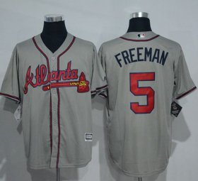 Wholesale Cheap Braves #5 Freddie Freeman Grey New Cool Base Stitched MLB Jersey
