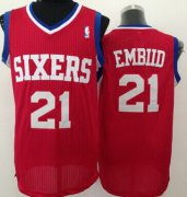 Wholesale Cheap Philadelphia 76ers #21 Joel Embiid Red Swingman Jersey