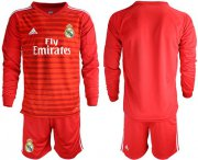 Wholesale Cheap Real Madrid Blank Red Goalkeeper Long Sleeves Soccer Club Jersey