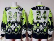 Wholesale Cheap Nike Seahawks #24 Marshawn Lynch White Men's Ugly Sweater