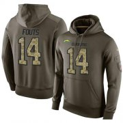 Wholesale Cheap NFL Men's Nike Los Angeles Chargers #14 Dan Fouts Stitched Green Olive Salute To Service KO Performance Hoodie