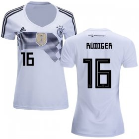 Wholesale Cheap Women\'s Germany #16 Rudiger White Home Soccer Country Jersey