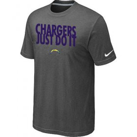 Wholesale Cheap Nike San Diego Chargers Just Do It Dark Grey T-Shirt