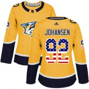 Wholesale Cheap Adidas Predators #92 Ryan Johansen Yellow Home Authentic USA Flag Women's Stitched NHL Jersey