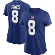 Wholesale Cheap New York Giants #8 Daniel Jones Nike Women's Team Player Name & Number T-Shirt Royal