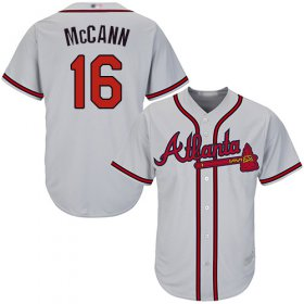 Wholesale Cheap Braves #16 Brian McCann Grey Cool Base Stitched Youth MLB Jersey