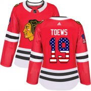 Wholesale Cheap Adidas Blackhawks #19 Jonathan Toews Red Home Authentic USA Flag Women's Stitched NHL Jersey