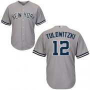 Wholesale Cheap Yankees #12 Troy Tulowitzki Grey Cool Base Stitched Youth MLB Jersey
