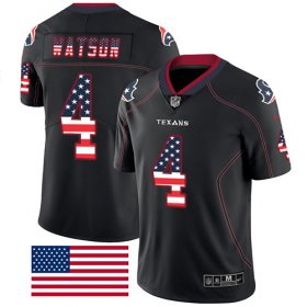 Wholesale Cheap Nike Texans #4 Deshaun Watson Black Men\'s Stitched NFL Limited Rush USA Flag Jersey