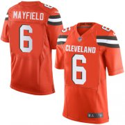 Wholesale Cheap Nike Browns #6 Baker Mayfield Orange Alternate Men's Stitched NFL Elite Jersey